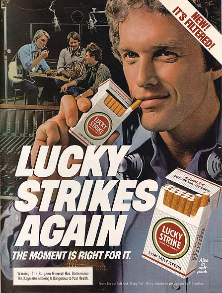 the lucky strike Your hit parade is an american radio and television music program that was broadcast from 1935 to 1955 on radio, and seen from 1950 to 1959 on television it was sponsored by american tobacco's lucky strike cigarettes.